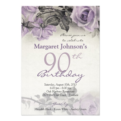 Vintage purple rose 90th birthday invitations - Customize online!