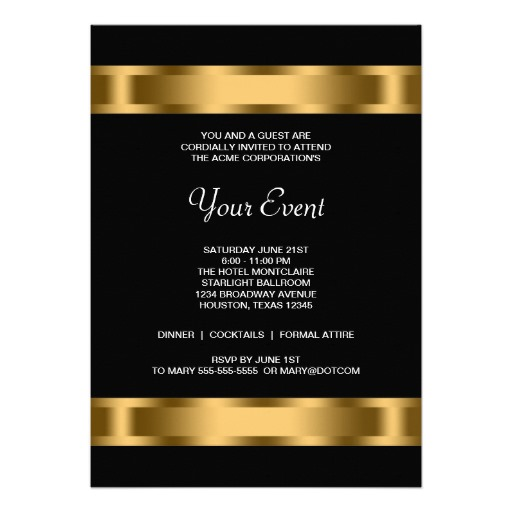 Black gold black corporate party invitation templates - Personalize! - company party invitation templates