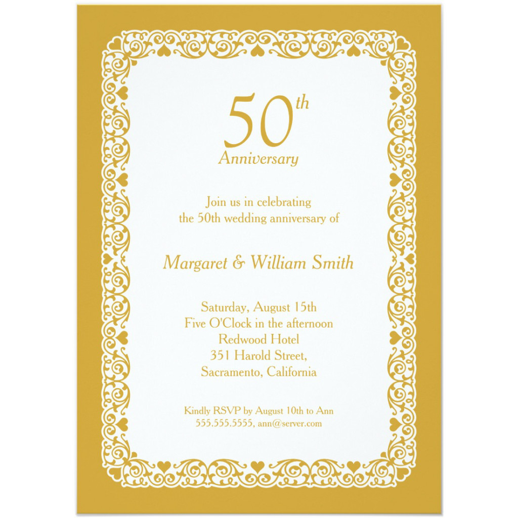 anniversary invitations 50th wedding anniversary invitations Elegant lace wedding anniversary invitation Choose your own colors