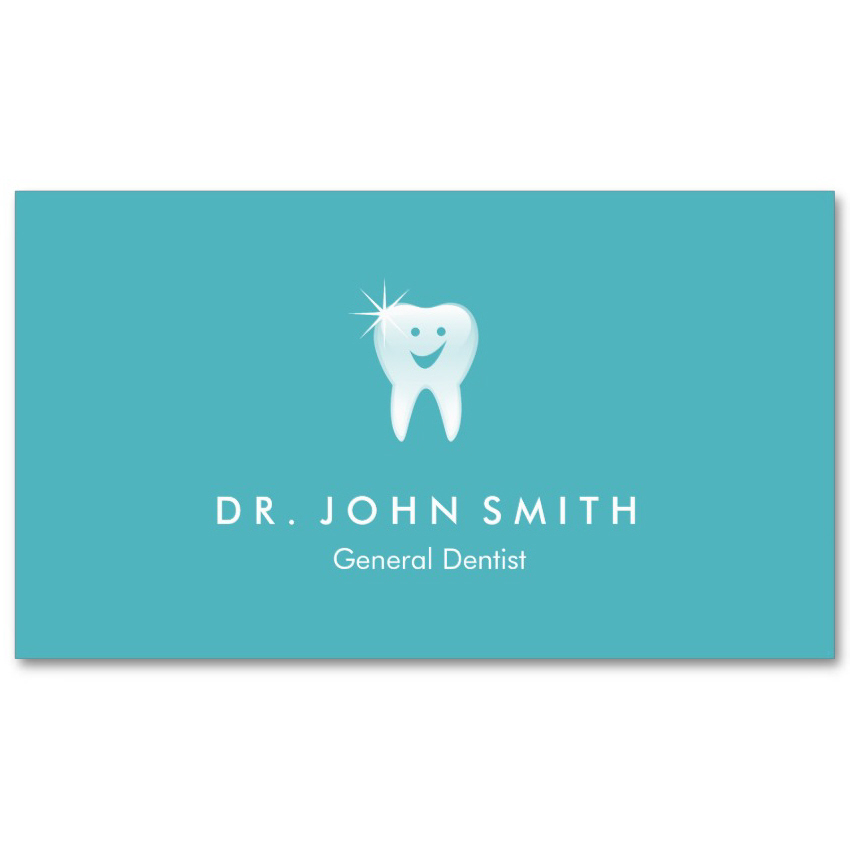 Aqua blue dental visiting card design happy tooth appointment