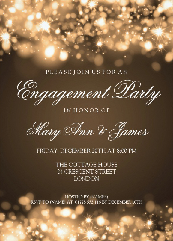 Sparkling lights engagement invitation to friends 5x7 Paper Card