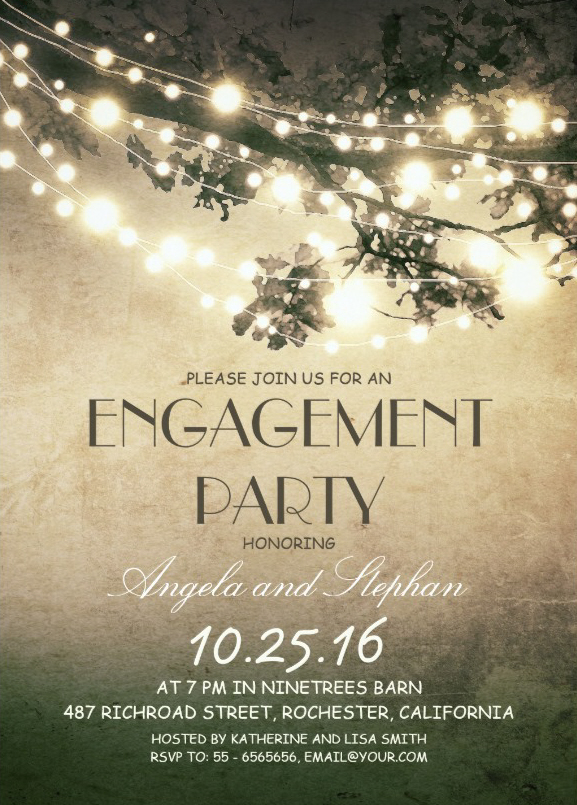 Tree branches engagement invitation card rustic string lights