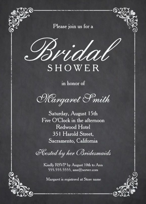 Elegant Chalkboard Bridal Shower Invitation Template - Online - bridal shower invitation templates