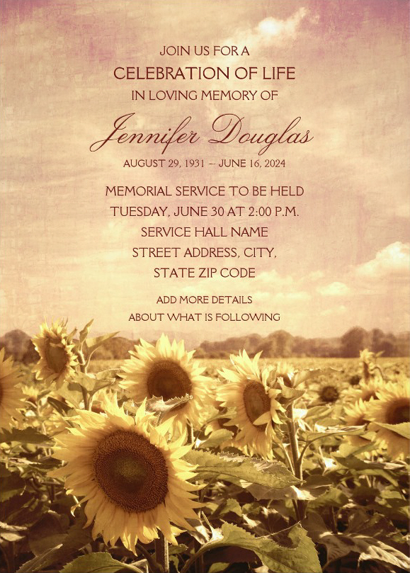 Country Sunflower Field Memorial Service Invitations - Customized