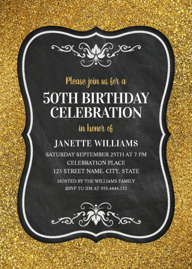 50th Birthday Invitations Birthday Invitation Templates