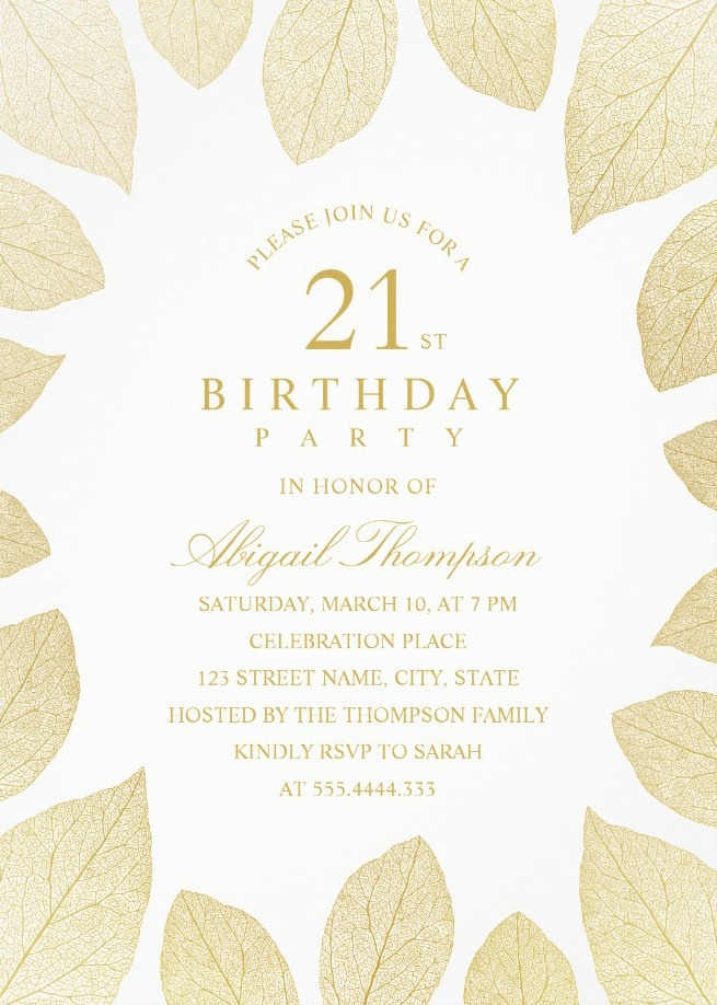 Unique Gold Leaves 21st Birthday Invitations - Elegant Frame