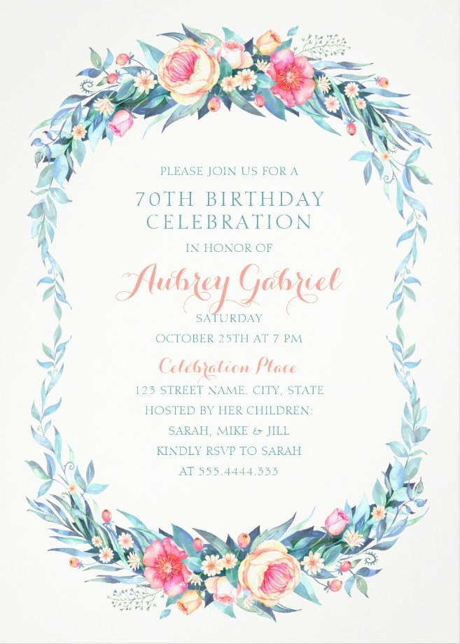 Floral Adult 70th Birthday Invitations - Elegant Spring Flowers