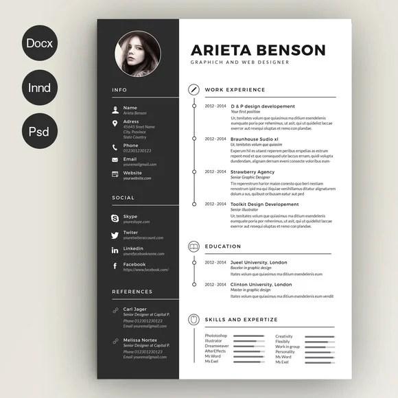 28 Minimal  Creative Resume Templates - PSD, Word  AI (Free