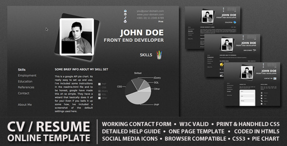 21 Professional HTML  CSS Resume Templates for Free Download (and