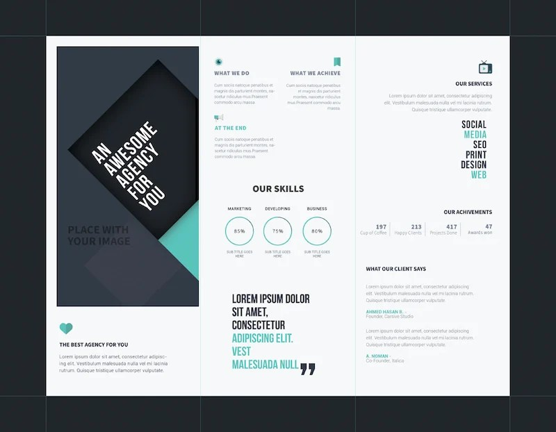 25 Tri-fold Brochure Templates - PSD, AI  INDD (Free  Premium - advertising brochure template