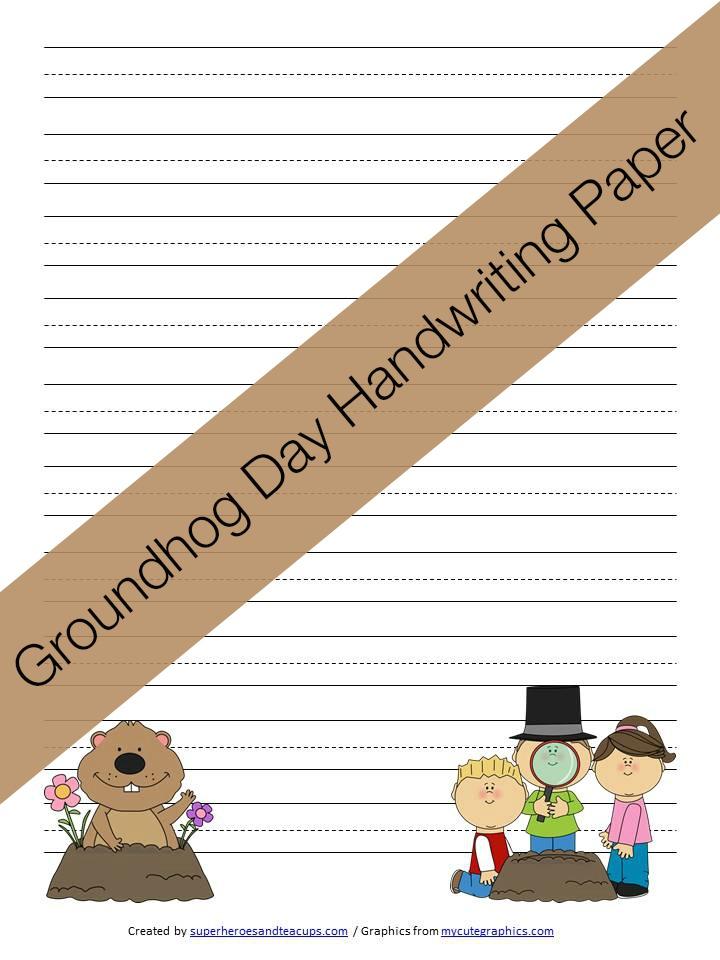 Groundhog Day Handwriting Paper Free Printable