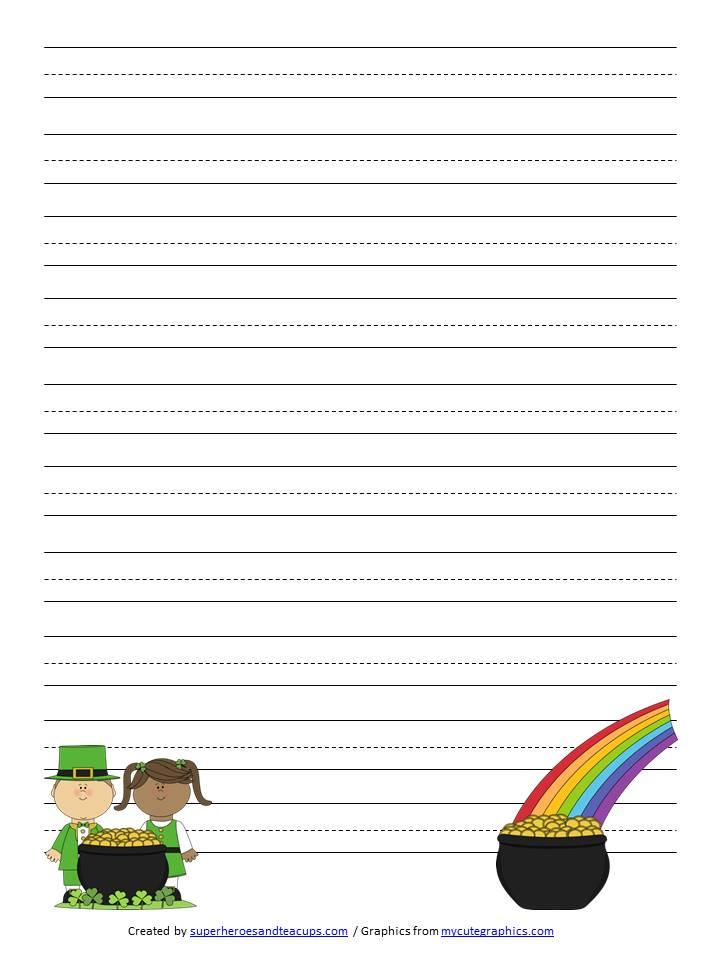 St Patrick\u0027s Day Handwriting Paper Free Printable