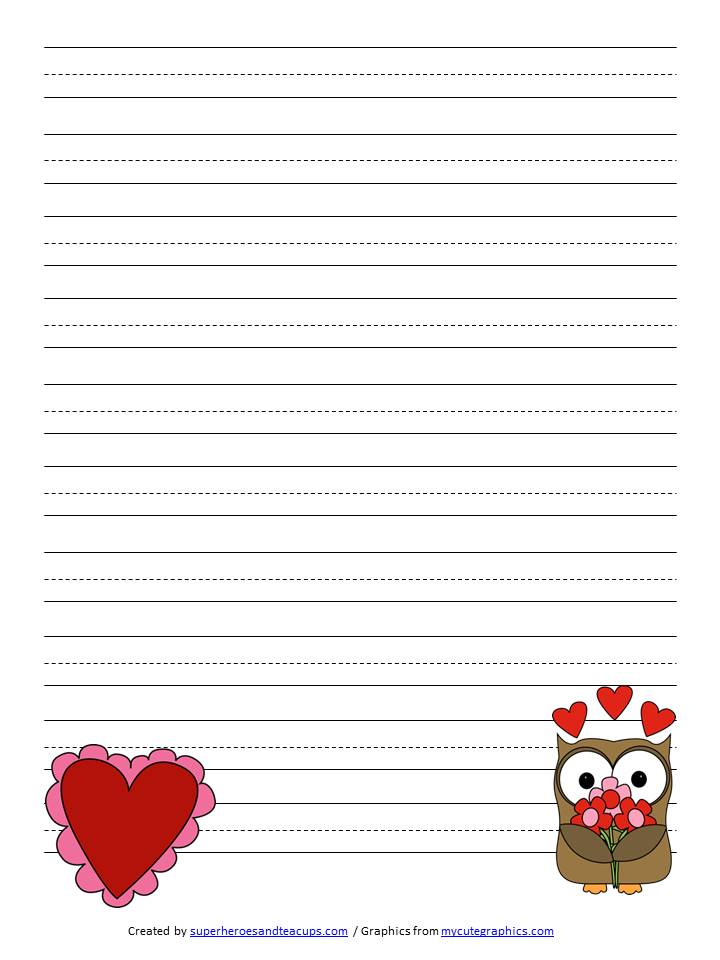 Valentine\u0027s Day Handwriting Paper Free Printable - free lined printable paper