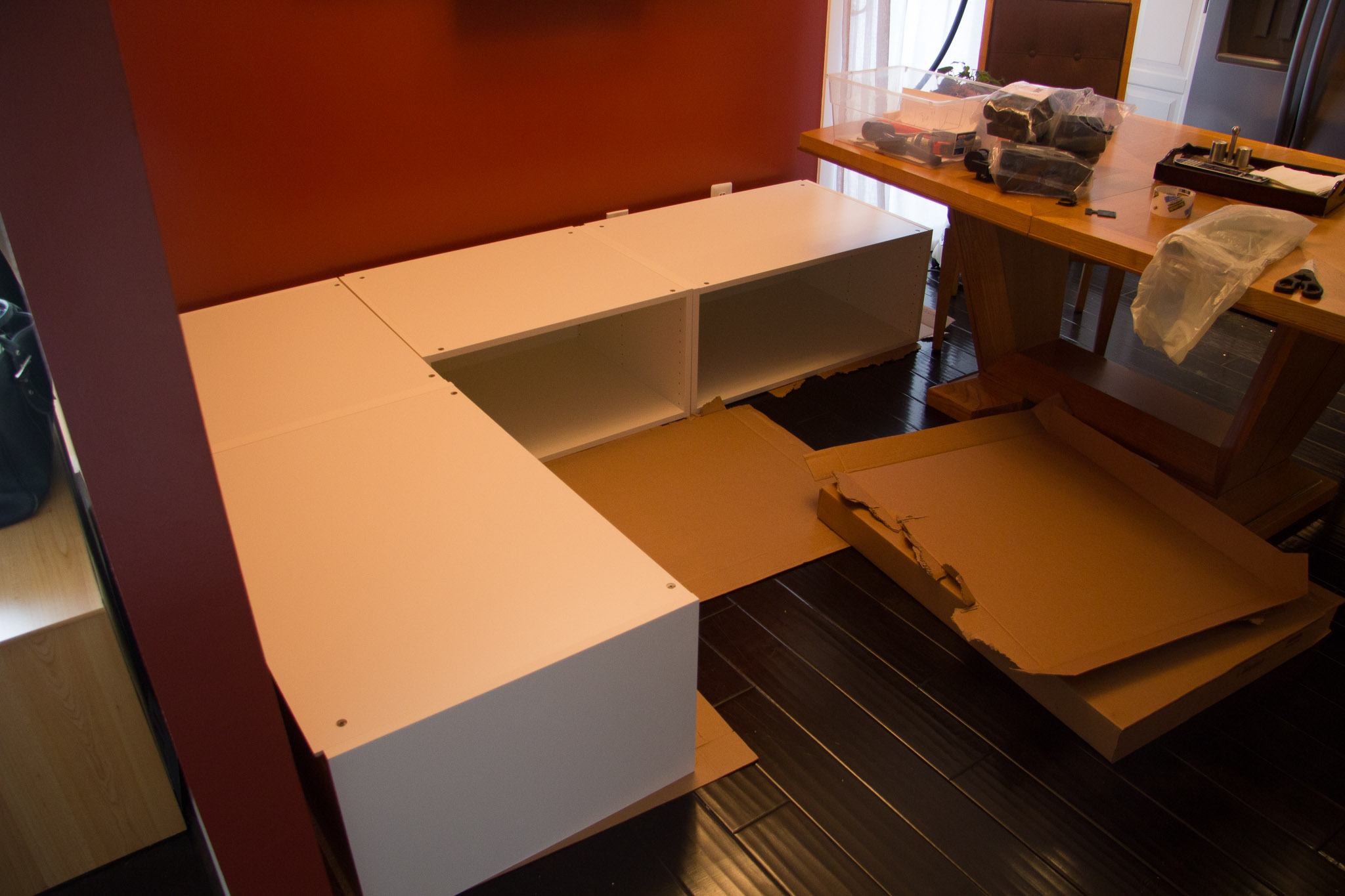 How To Build Bench Seating DIY Kitchen Banquette Bench Using Ikea Cabinets (Ikea Hacks)