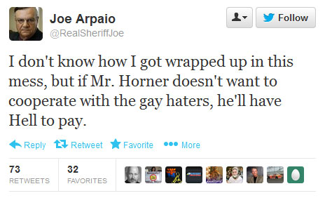 Joe Arpaio tweet about Paul Horner and hoax article about Jan Brewer