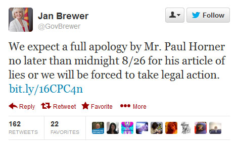 Governor Jan Brewer tweet about Paul Horner and hoax article