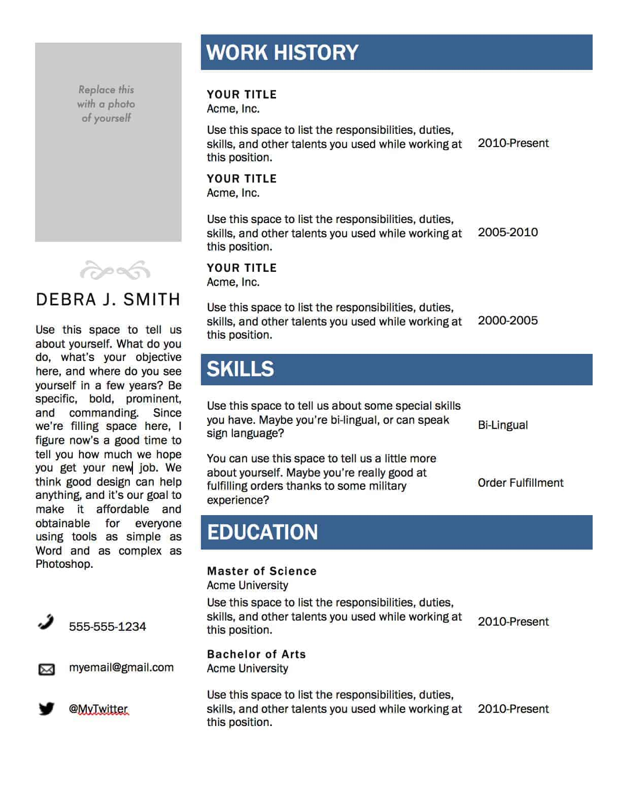 Great Resume Microsoft Word Throughout Ms Word Resume Resume Templates
