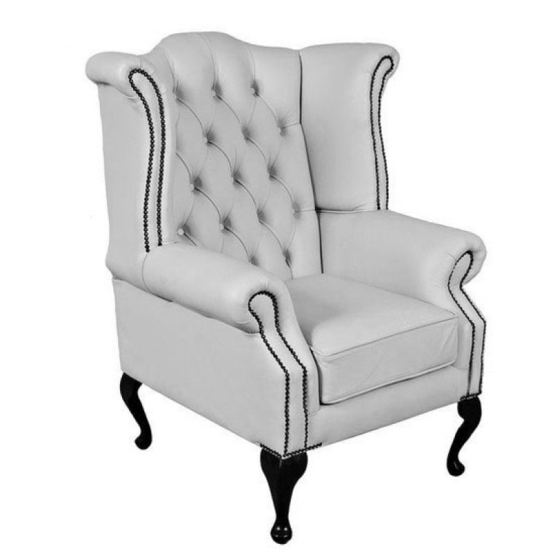 Chesterfield Shelly White Genuine Leather Queen Anne Armchair - Leather Queen Chair
