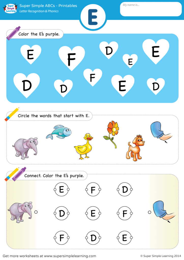 Abc Baby Games Free Download Letter Recognition Phonics Worksheet E Uppercase