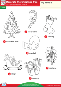 Decorate The Christmas Tree Worksheet  Vocabulary ...