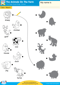 The Animals On The Farm Worksheet  Color & Match