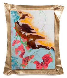 """Sweet pea, mixed media with imitation gold leaf, 69"""" x 50.5"""", 2012"""