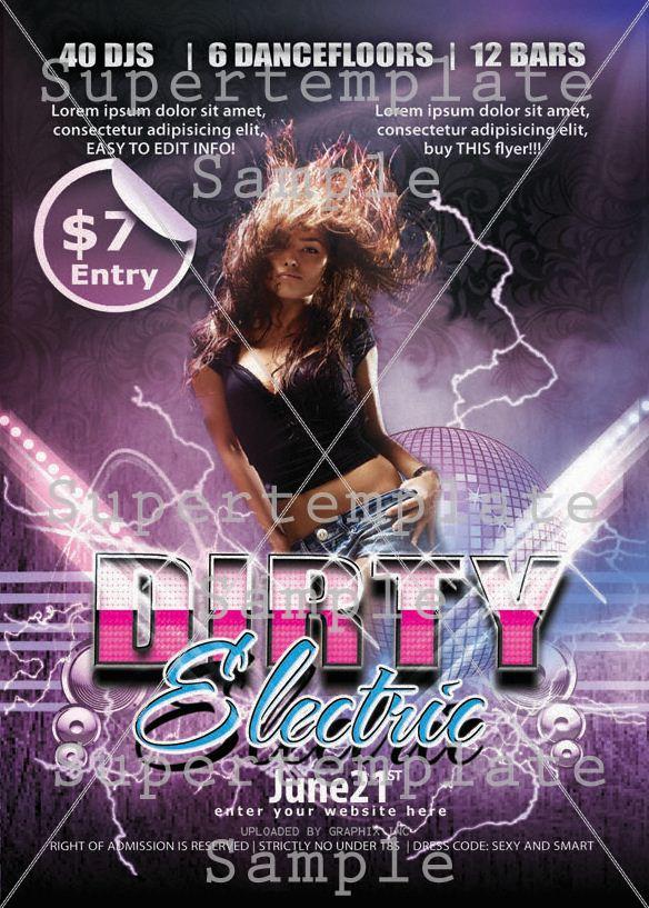 Dirty Electro Flyer supertemplate - electro flyer