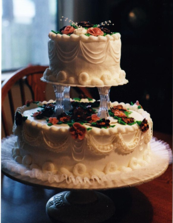 Table Tulip White Wedding Cakes - Two Tier With Gum Paste Flowers