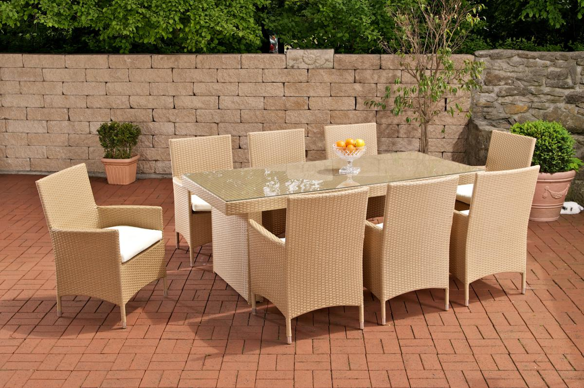 Rattan Sitzgruppe Real Rattan Garden Furniture Set Atlanta Rattan Table 200 Cm And 8 Chairs For Garden Or Terrace Beige Sand