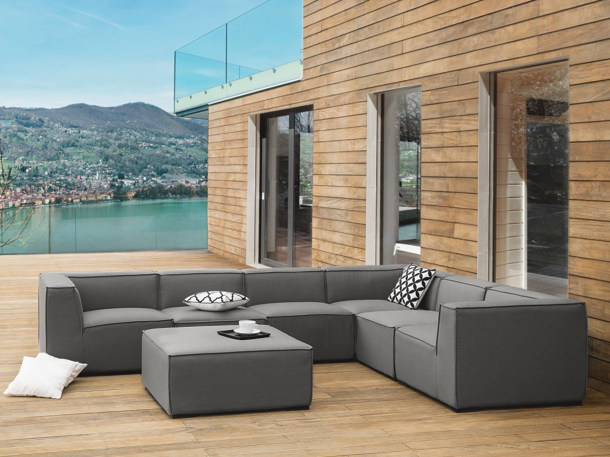 Lounge Garden Furniture Set Amarillo Xxl Sofa Lounge Couch For Garden Terrace Grey Supply24