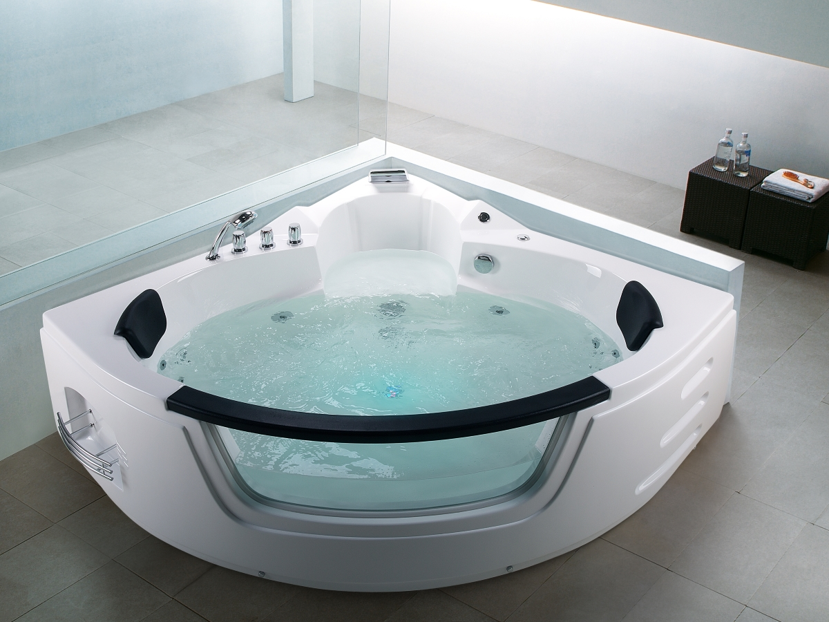 Vasca Idromassaggio Angolare 140x140 Whirlpool Bath Tub Mallorca With 12 Massage Jets 43 Glass