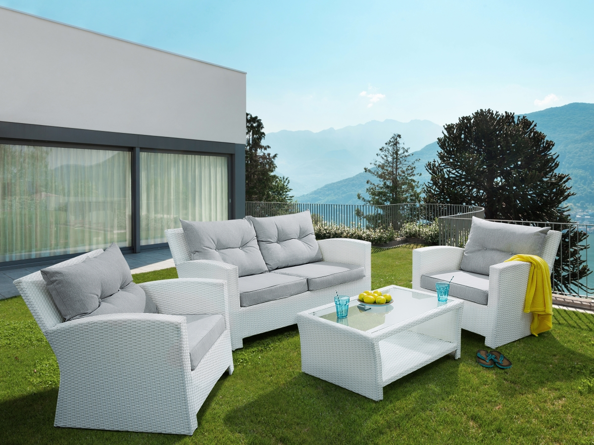 Sun Garden Sylt Rattan Garden Furniture Set Sylt Rattan Lounge For Garden Or Terrace Couch Rattanlounge White
