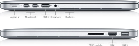 Ports on the MacBook Pro with Retina display