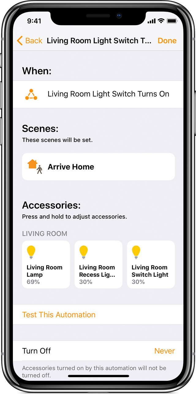 Light Automation Create Home Automations With The Home App Apple Support