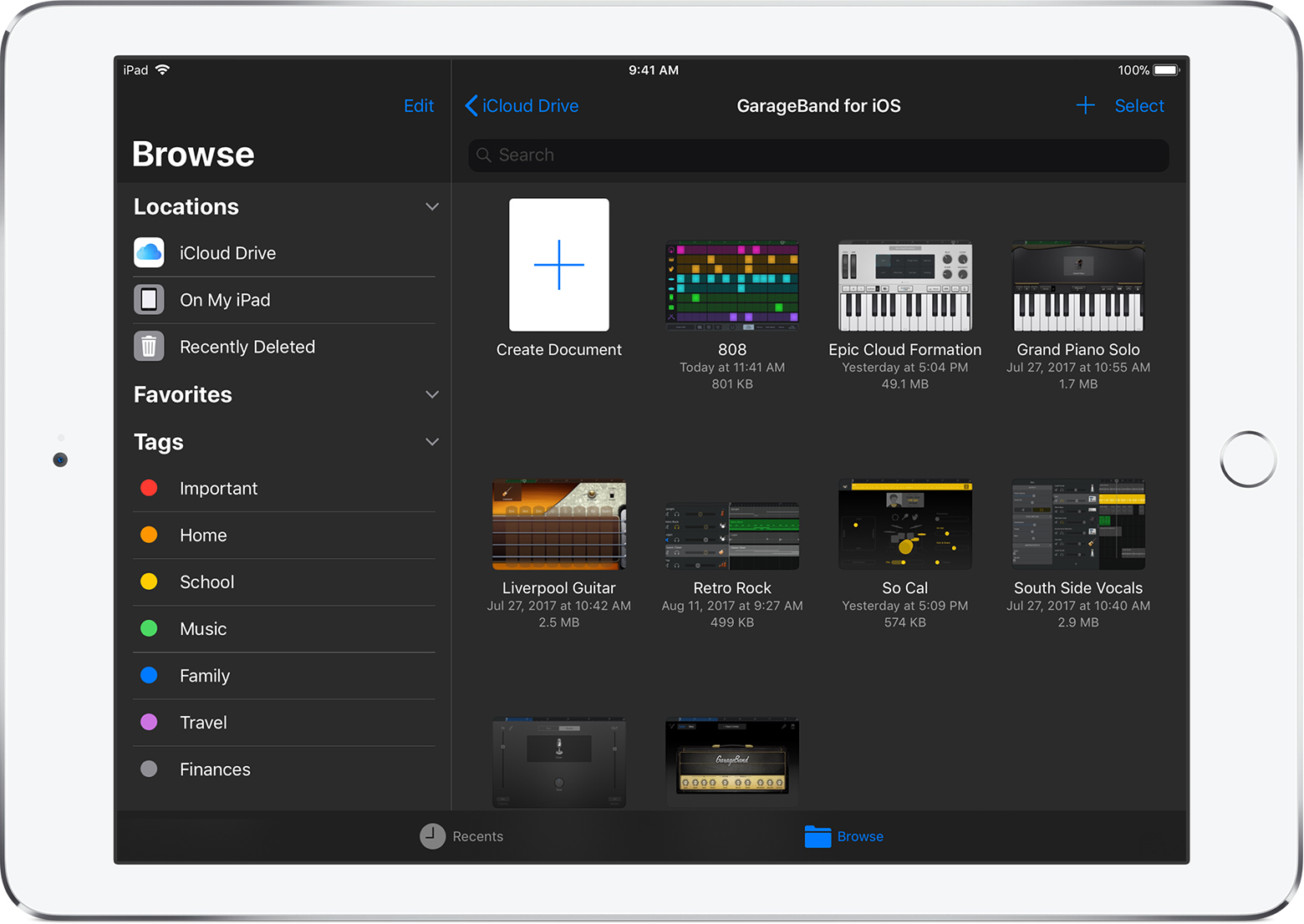 Garageband X How It Works Pdf Browse Your Garageband For Ios Songs Apple Support