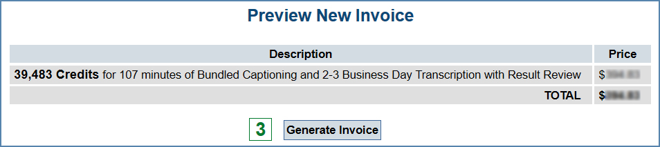 Creating an Invoice for a Captioning, Transcription and Cinema