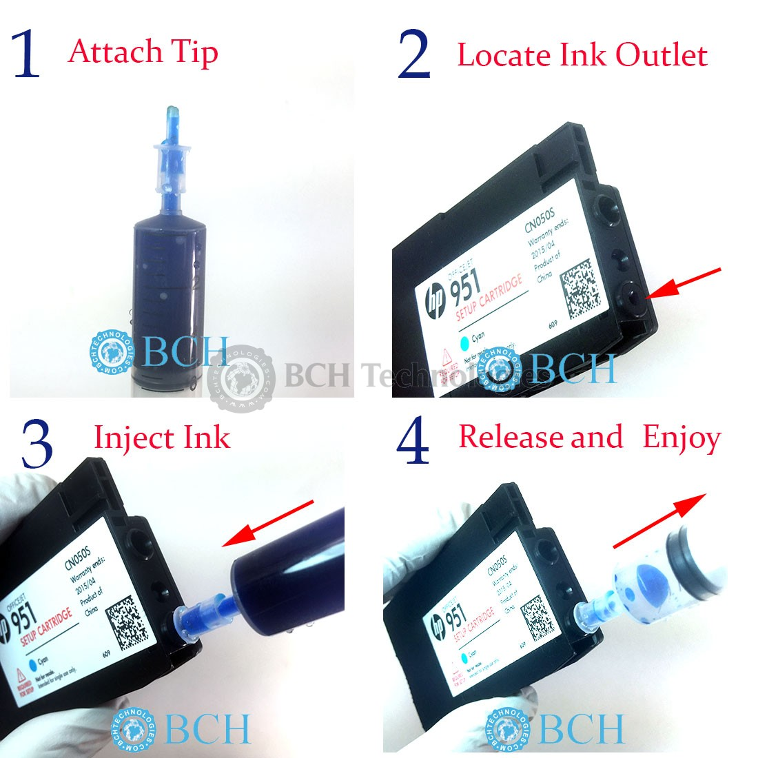 950 Ink How To Refill Oem Hp 950 951 932 933 Cartridges Bch