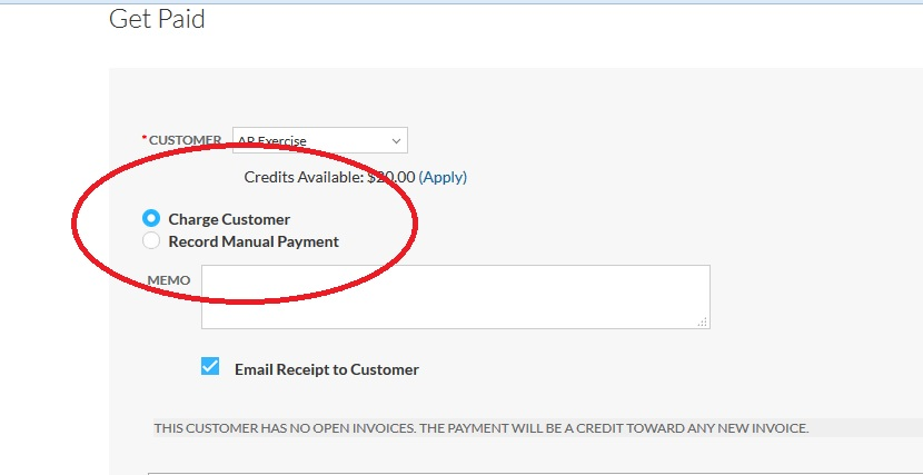 Charging a customer \u2013 Support Center