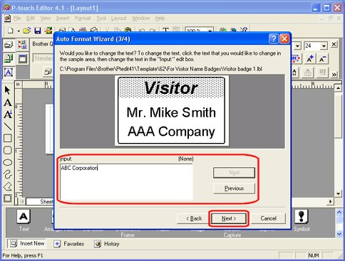 Creating a Name Badge Label using Auto Format Wizard function (using