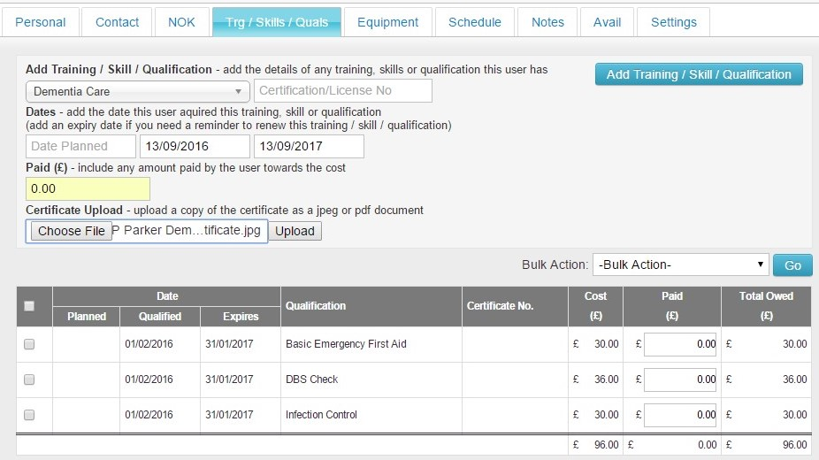 How do I add Training, Skills  Qualifications to Staff Records