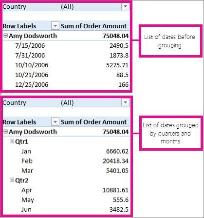 Group or ungroup data in a PivotTable - Excel - pivot table in excel