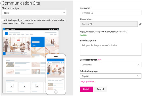 Create a communication site in SharePoint Online - Office Support