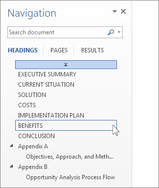 Use the Navigation pane in Word - Word
