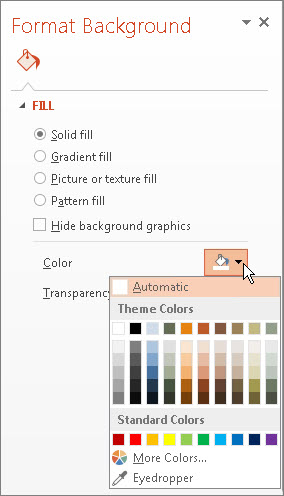 Format the background color of slides - PowerPoint