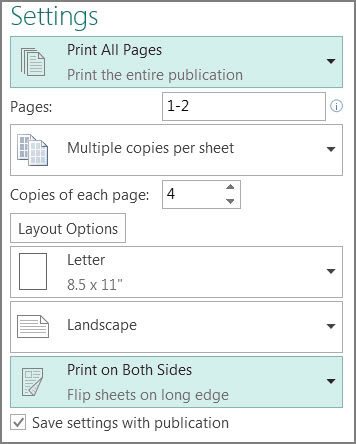 Print two-sided postcards in Publisher - Publisher