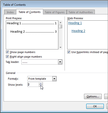 Format or customize a table of contents - Word - word template table