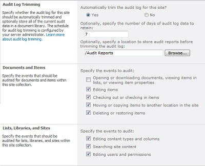 Configure audit settings for a site collection - SharePoint