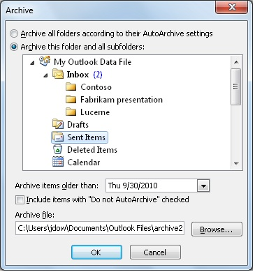 Archive items manually - Outlook