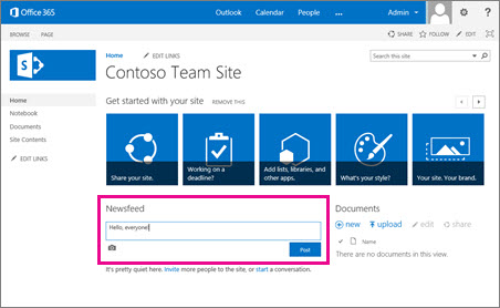 Use the SharePoint Newsfeed - SharePoint