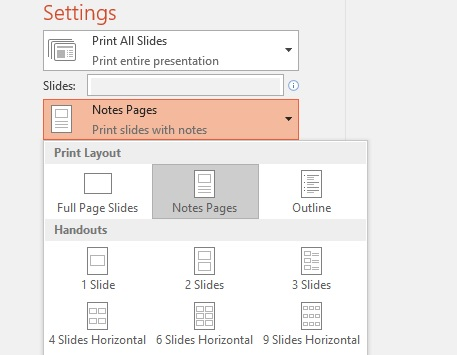 Print slides with or without speaker notes - PowerPoint